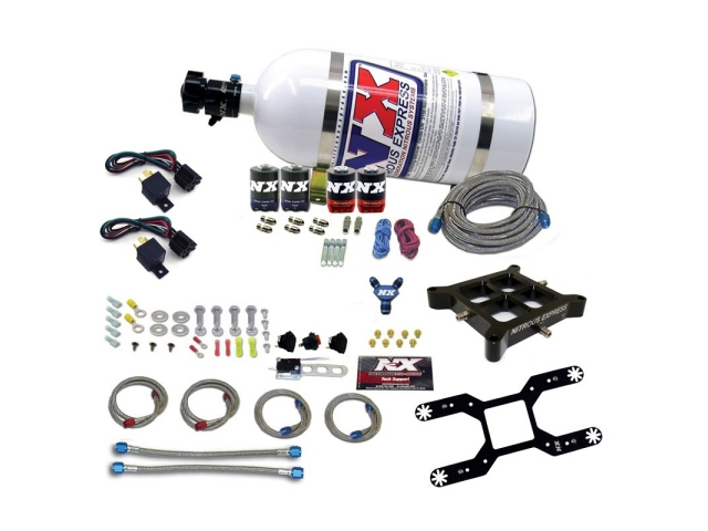 NITROUS EXPRESS Dual Stage Billet Crossbar Nitrous Plate Kit (50-300 HP) w/ 10 Pound Bottle (Dominator Flange)