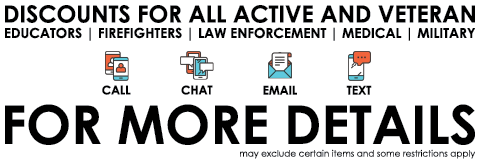 DISCOUNTS FOR ALL ACTIVE AND VETERAN EDUCATORS FIREFIGHTERS LAW ENFORCEMENT MEDICAL MILITARY CALL CHAT EMAIL TEXT FOR MORE DETAILS MAY EXCLUDE CERTTAIN ITEMS AND SOME RESTRICTIONS APPLY