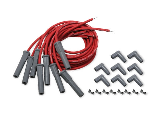 Holley EFI 8.2mm Spark Plug Wire Set, Red w/ Grey 180 Degree Boots (GM LS)